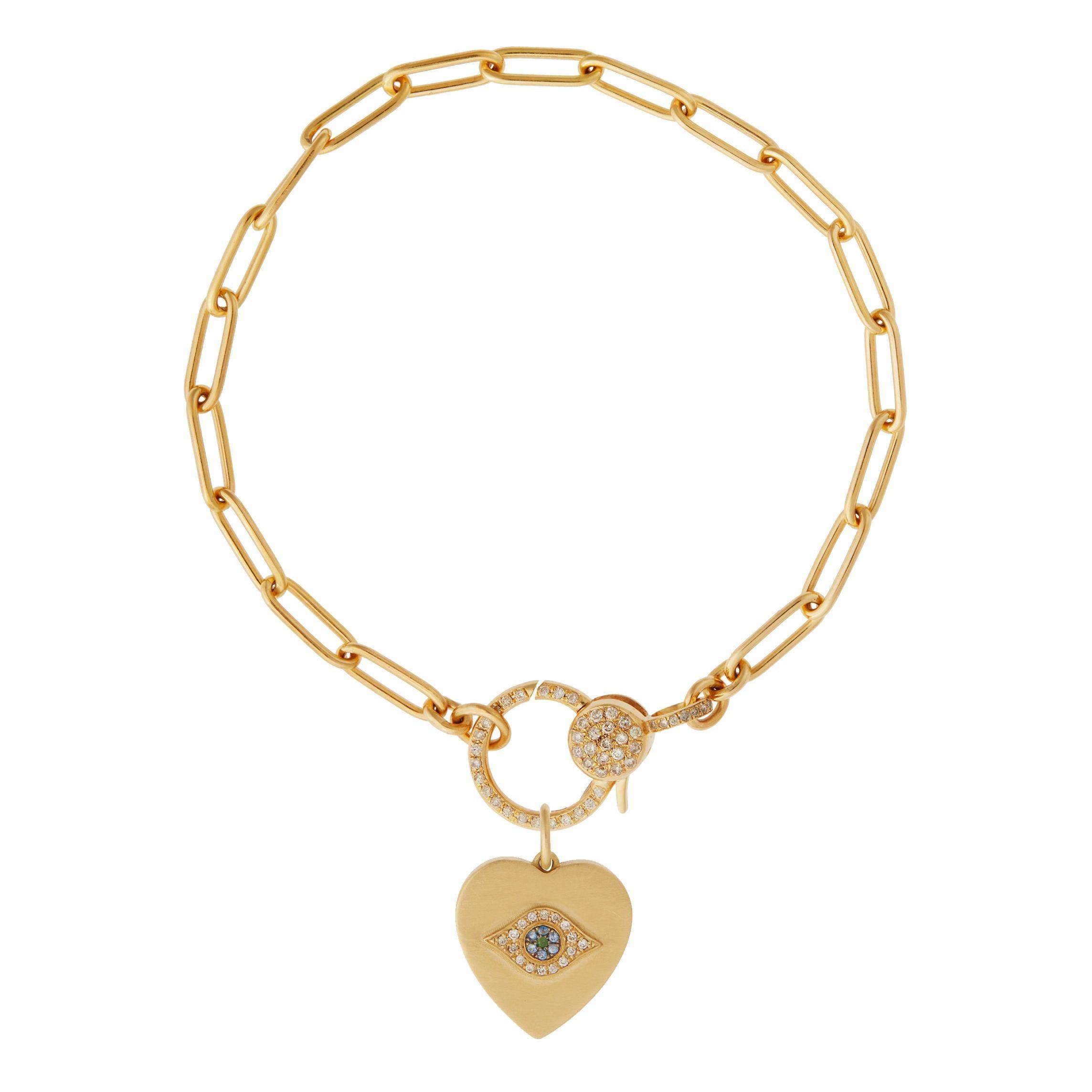 18k Gold & Diamond Evil Eye Heart Bracelet