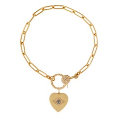 18k Gold & Diamond Evil Eye Heart Bracelet