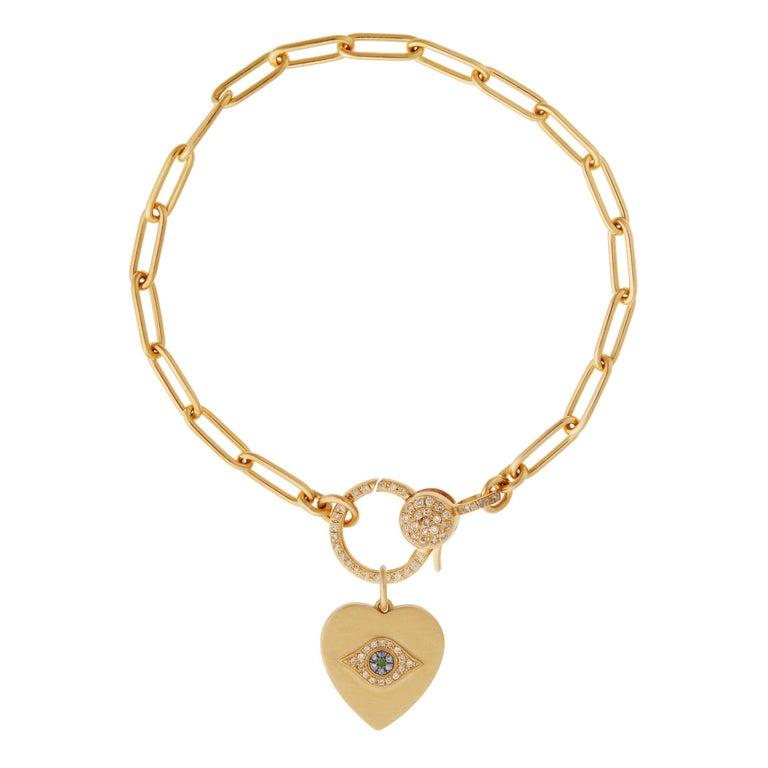 18k Gold & Diamond Evil Eye Heart Bracelet For Sale