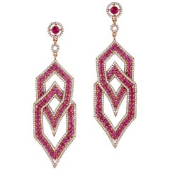 18K Gold Diamond, Ruby and Red Sapphire Earrings, Total weight stones 8.68 Carat