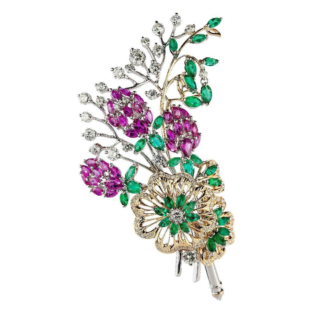 18K Gold Diamond Ruby Emerald Flower Bouquet Brooch, Handmade