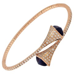 18 Karat Gold Diamond Sapphire Bangle Bracelet
