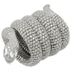 Contemporary Diamond Coiled Serpent Bracelet