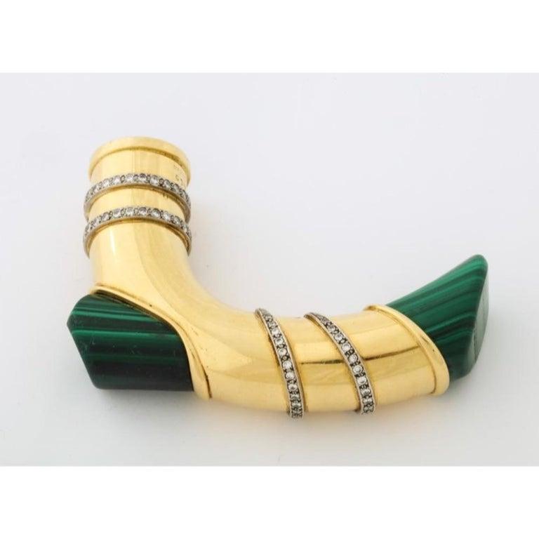 18 Karat Gold, Diamonds and Malachite Cane Walking Stick Handle by Asprey London For Sale 8