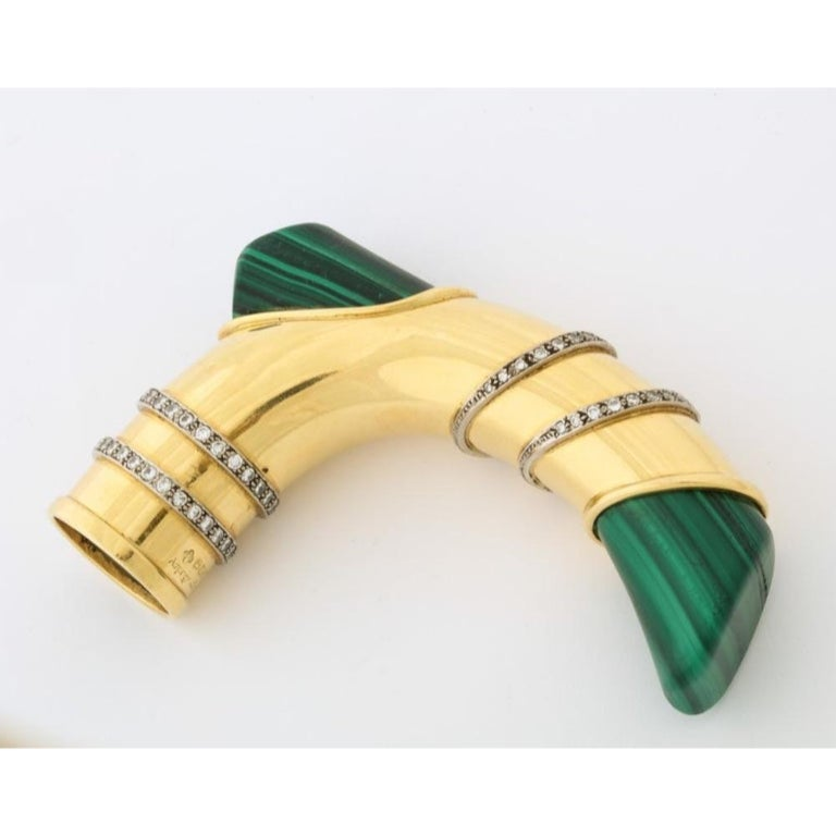 18K Gold, Diamonds, and Malachite Cane Walking Stick Handle by Asprey London, 20th century.    Can also be used as a door handle.     Hallmarked, stamped 750 and signed Asprey London    4