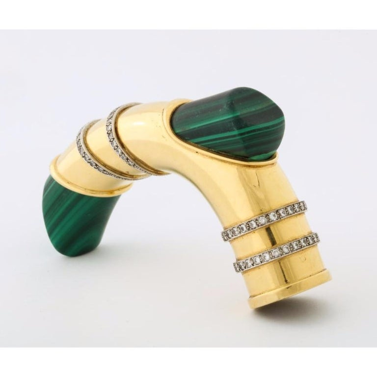 18 Karat Gold, Diamonds and Malachite Cane Walking Stick Handle by Asprey London In Good Condition For Sale In New York, NY