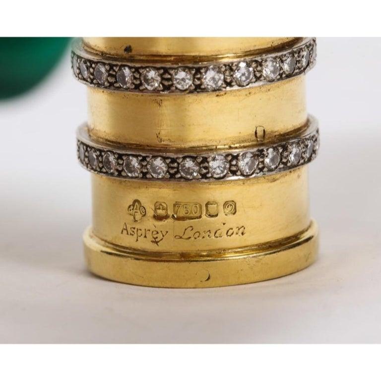 Women's or Men's 18 Karat Gold, Diamonds and Malachite Cane Walking Stick Handle by Asprey London For Sale
