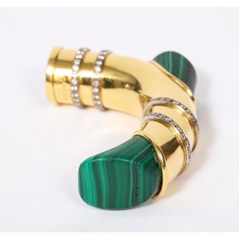 18 Karat Gold, Diamonds and Malachite Cane Walking Stick Handle by Asprey London For Sale 5