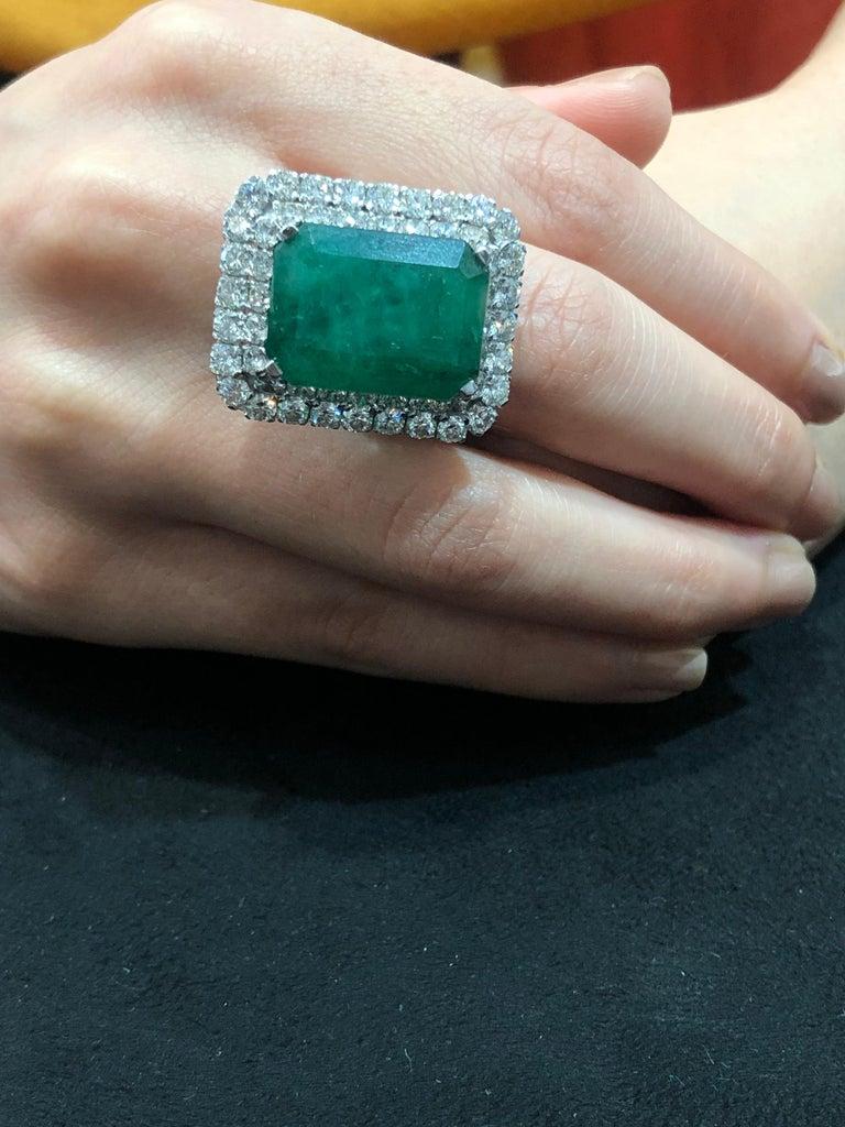 18 Karat Gold Diamonds And Zambian Emerald Cocktail Ring