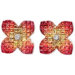 18k Gold Diamonds & Invisible Set 9.86 Ct Orange Sapphire Flower Earrings