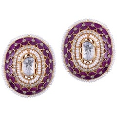 18 Karat Gold Diamonds, Uncut Diamond, Red Stone and Pearl Earrings