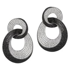 18K Gold Drop Loop Earrings, 1,044 Black & White Diamonds Weighing 8.76 Carat