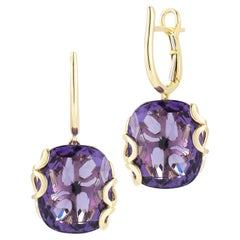 18k Gold Earrings with Amethyst