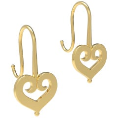 18K Gold Earrings with Heart Motif by Romae Jewelry Inspired by Ancient Examples