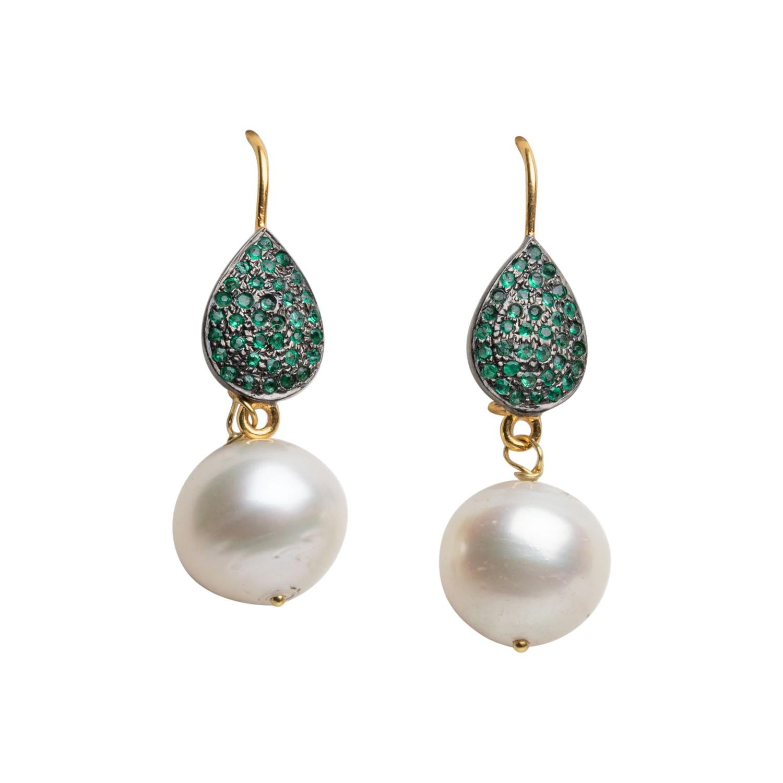 18k Gold, Emerald and Pearl Drop Earrings by Deborah Lockhart Phillips