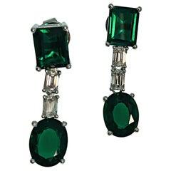 18K Gold Emerald Cut Diamond Lab Grown Deep Vivid Green Emerald Drop Earrings