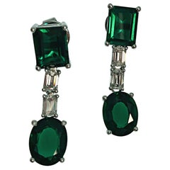 18K Gold Emerald Cut Diamond Synthetic Deep Vivid Green Emerald Drop Earrings