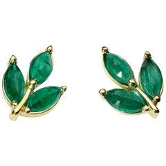 18 Karat Gold Emerald Leaf Studs