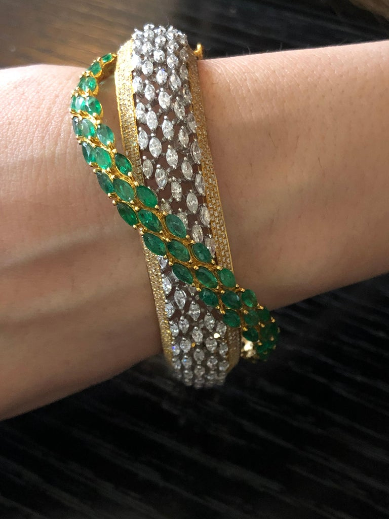 Diamond: 5.28 carats Emerald: 5.90 carats  Gold: 36.959 grams 18k  Item Code: DBR CED Colour: GH Clarity: VS Note: This bracelet can be altered according to wrist size and can also be made in other colours: Ruby and Blue Sapphire