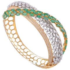 18 Karat Gold Emerald White Diamond Bracelet