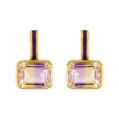18k Gold, Enamel and Ametrine Earring