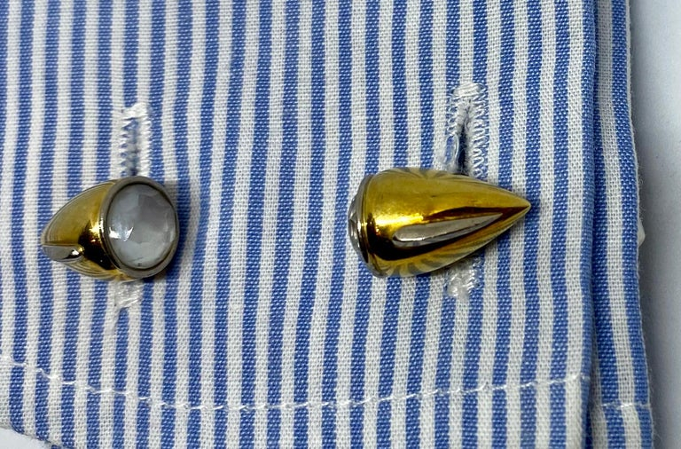 18 Karat Gold, Enamel and Moonstone Cufflinks Made for a Motor Car Enthusiast For Sale 4