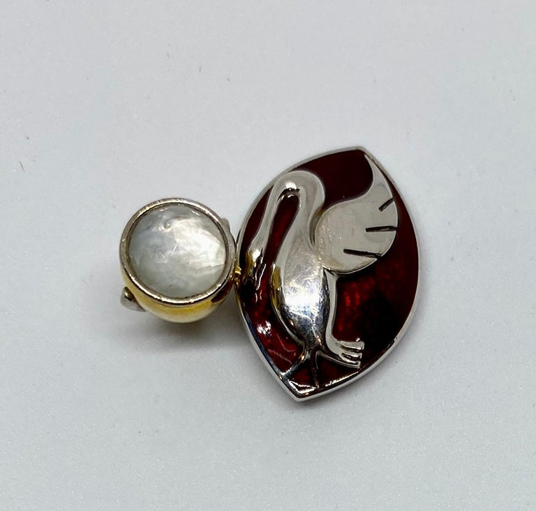 Art Deco 18 Karat Gold, Enamel and Moonstone Cufflinks Made for a Motor Car Enthusiast For Sale