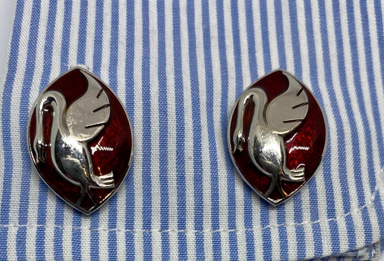 18 Karat Gold, Enamel and Moonstone Cufflinks Made for a Motor Car Enthusiast For Sale 2