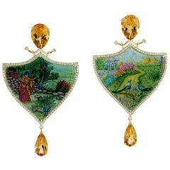 Enamel Hand Painted Mother of Pearl Citrine Diamond 18 Karat Gold Earrings