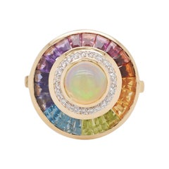 18k Gold Ethiopian White Opal Multicolour Rainbow Baguette Circular Diamond Ring