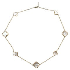 18k Gold Finish & Mother of Pearl Alhambra-Style Chain Necklace