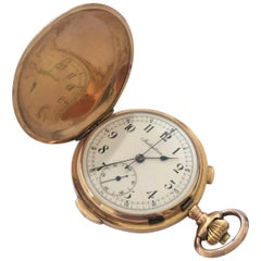 18k Gold Full Hunter Quarter Repeater Chronograph Pocket Watch Signed Initiative