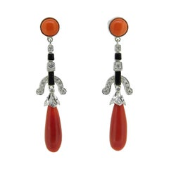 18k Gold Genuine Natural Coral Briolette Diamond and Enamel Earrings '#J4708'
