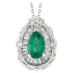 18k Gold GIA Teardrop Not Treated Emerald & Ballerina Diamond Pendant Necklace