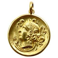 18k Gold Goddess Circe Coin Pendant