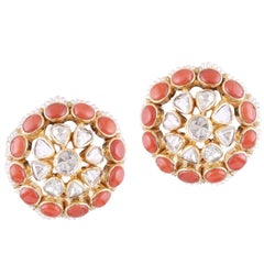 18k Gold Handcrafted Coral Cultured Pearls Polki White Diamond Stud Earrings