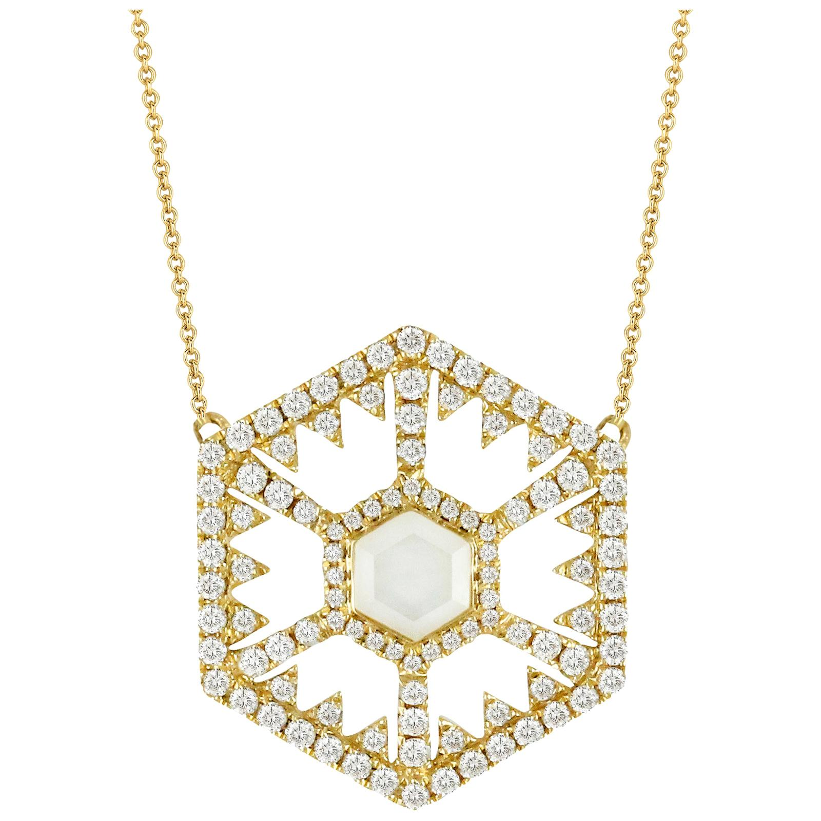 18K Gold Hexagon Fashion Necklace with White Mother of Pearl Quartz and Diamonds