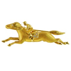 18 Karat Gold Horse and Jockey Pin