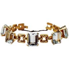 18 Karat Gold Italy Link Bracelet with Graduating Aquamarines