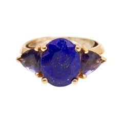 18k Gold, Lapis and Onyx Ring