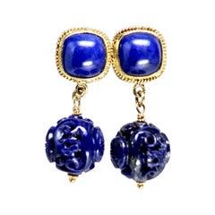 18k Gold Lapis Lazuli Dragon Motif Drop Earring