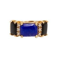 18k Gold, Lapis, Onyx and Diamond Ring