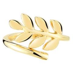 18 Karat Gold Leaf Fashion Ring