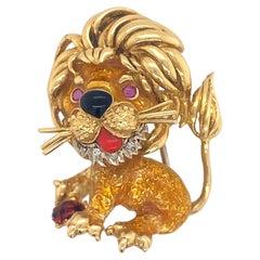 18k Gold Lion Brooch