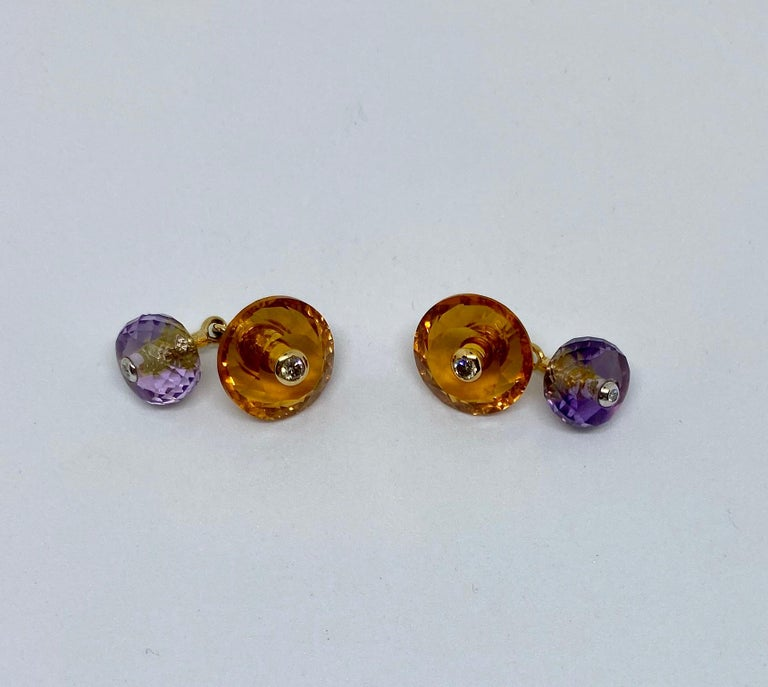 Contemporary 18 Karat Gold, Madera Citrine, Amethyst and Diamond Cufflinks For Sale