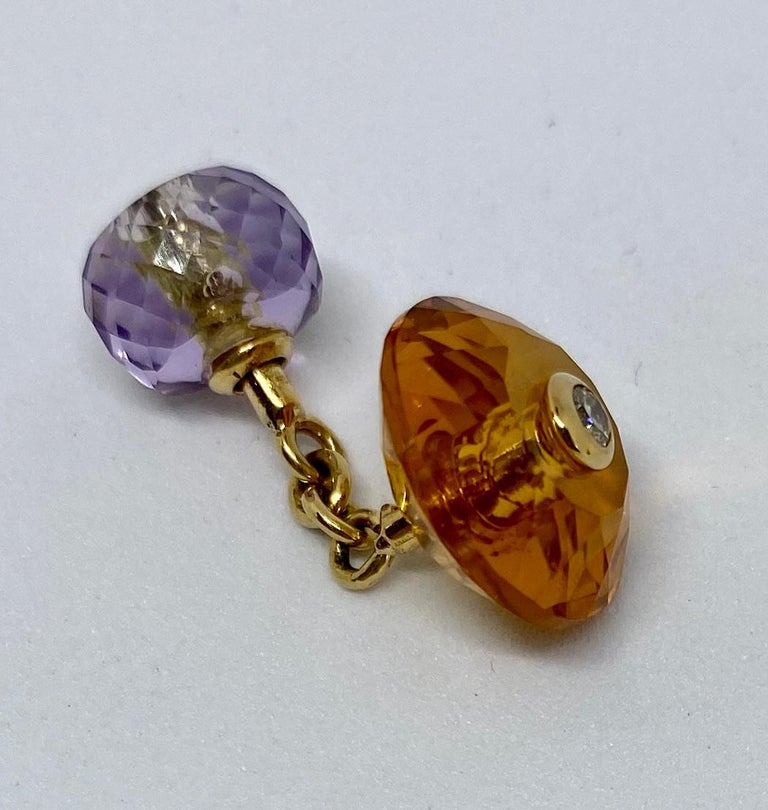 Mixed Cut 18 Karat Gold, Madera Citrine, Amethyst and Diamond Cufflinks For Sale