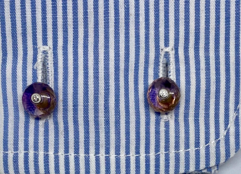 Women's or Men's 18 Karat Gold, Madera Citrine, Amethyst and Diamond Cufflinks For Sale
