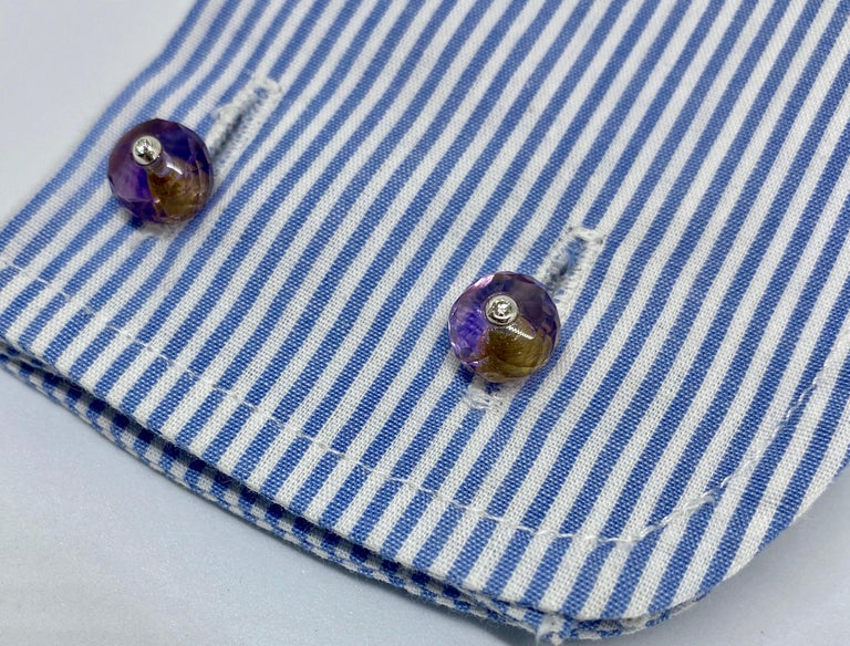 18 Karat Gold, Madera Citrine, Amethyst and Diamond Cufflinks For Sale 1