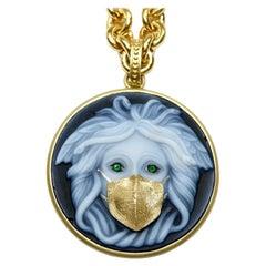 18k Gold Masked Medusa Pendant