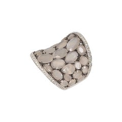 18k Gold Moonstone Diamond Ring